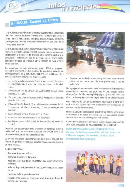Article bulletin municipal Cozes mars 2013