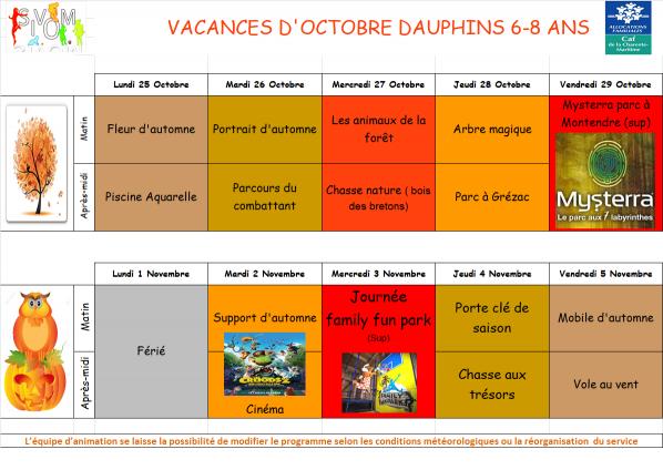 Programme dauphins vacances octobre 2021