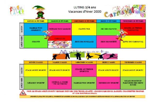 Programme des vacances de fevrier lutins