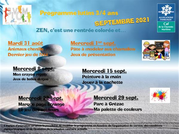 Programme lutins septembre 2021