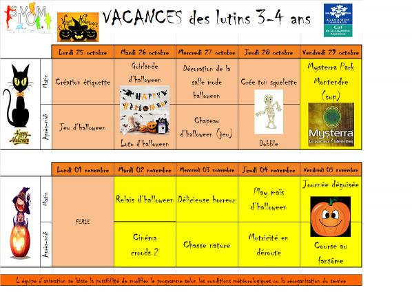 Programme lutins vacances octobre 2021