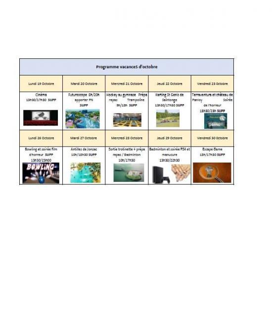 Programme sj vacances octobre 1