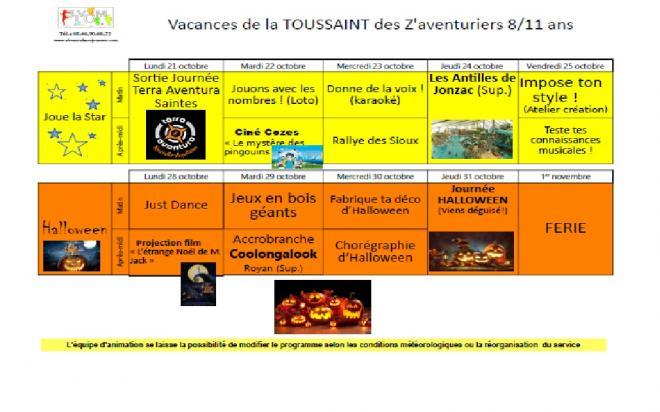 Programme toussaint aventuriers
