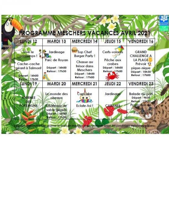 Programme vacances avril meschers