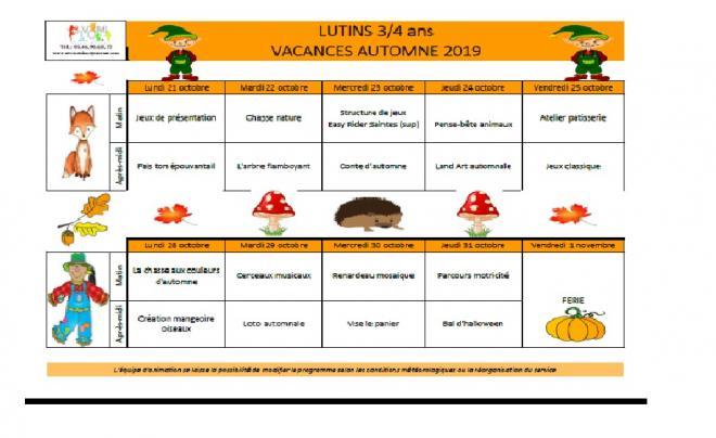 Programme vacances toussaint lutins