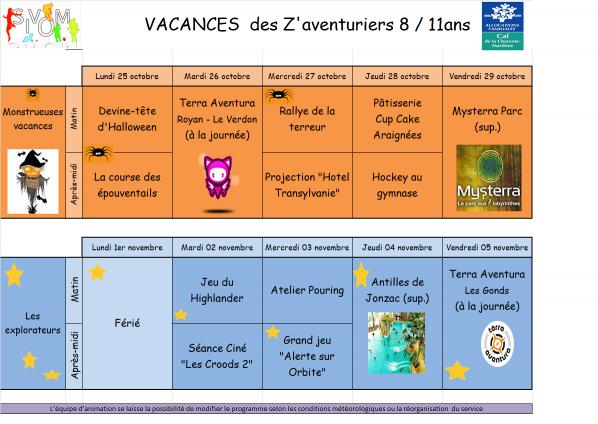 Programme z av vacances octobre 2021