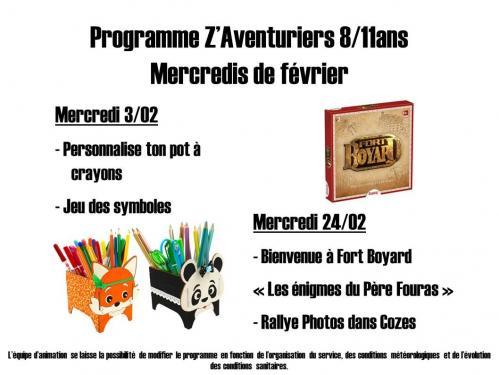 Programme z aventuriers fevrier 2022
