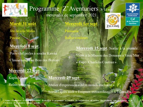 Programme z aventuriers septembre 2021