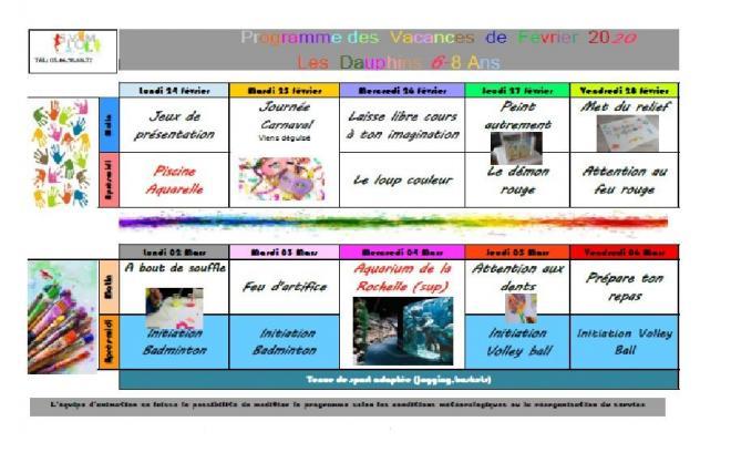 Programmes des vacances de fevrier dauphins 1