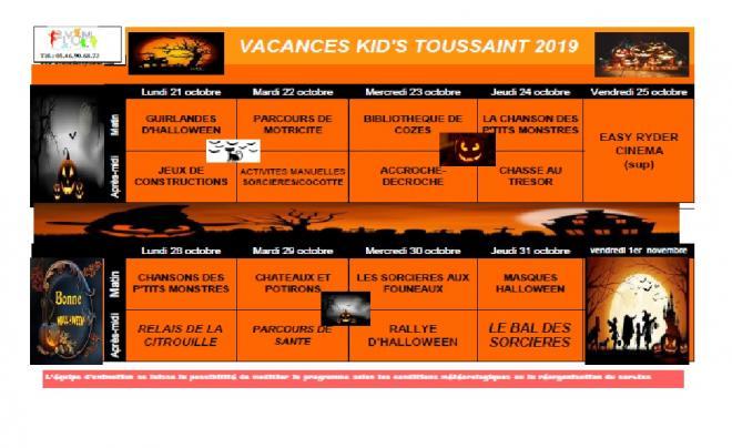Programmes vacances toussaint kids